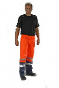 OCEAN-ABEKO-Warnschutz, Komfort Light Warn-Schutz-Bund-Hose, High Vis,170g/m², orange/marine